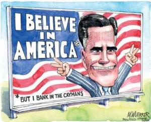 De Kaaimaneilanden staan bekend als een belastingparadijs. Hier een cartoon met preidentskandidaat Mitt Romney; die roept: 'ik geloof in Amerika, maar ik bankier op de Kaaimaneialnden'