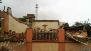 De verwoeste kerk van San Antonio María Claret in Santiago de Cuba