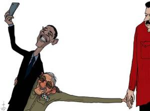 Obama's selfie met Raul Castro, die de Venezolaanse president  sleeptowu neemt