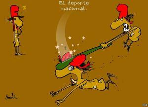 Cartoonist Garrincha over het in elkaar knuppelen van politieke tegenstanders 'Een nationale sport'.